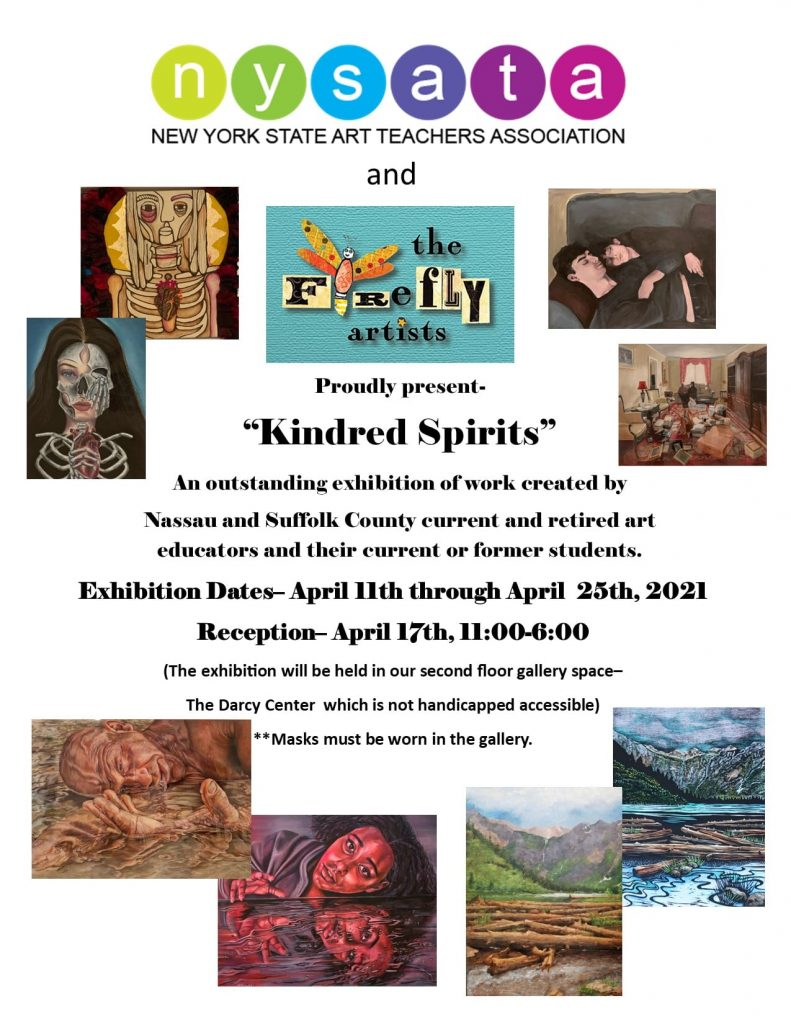 Kindred Spirits Flyer Exhibition Dates 4/11 - 4/25, 2021 at The Firefly Artists, Northport, NY